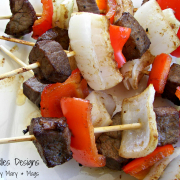 Steak, Onion, and Pepper Kabobs for Two