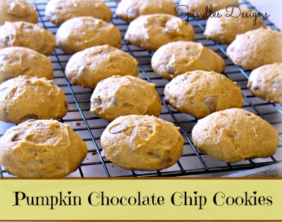 Pumpkin Chocolate Chip Cookies at www.spindlesdesigns.com