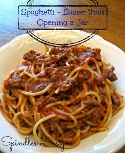Spaghetti - Easier Than Opening a Jar at www.SpindlesDesigns.com
