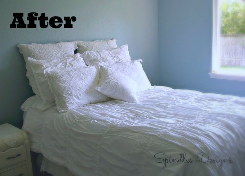 Phase 1 complete - paint and new comforter. www.spindlesdesigns.com #paintmasterbedroom