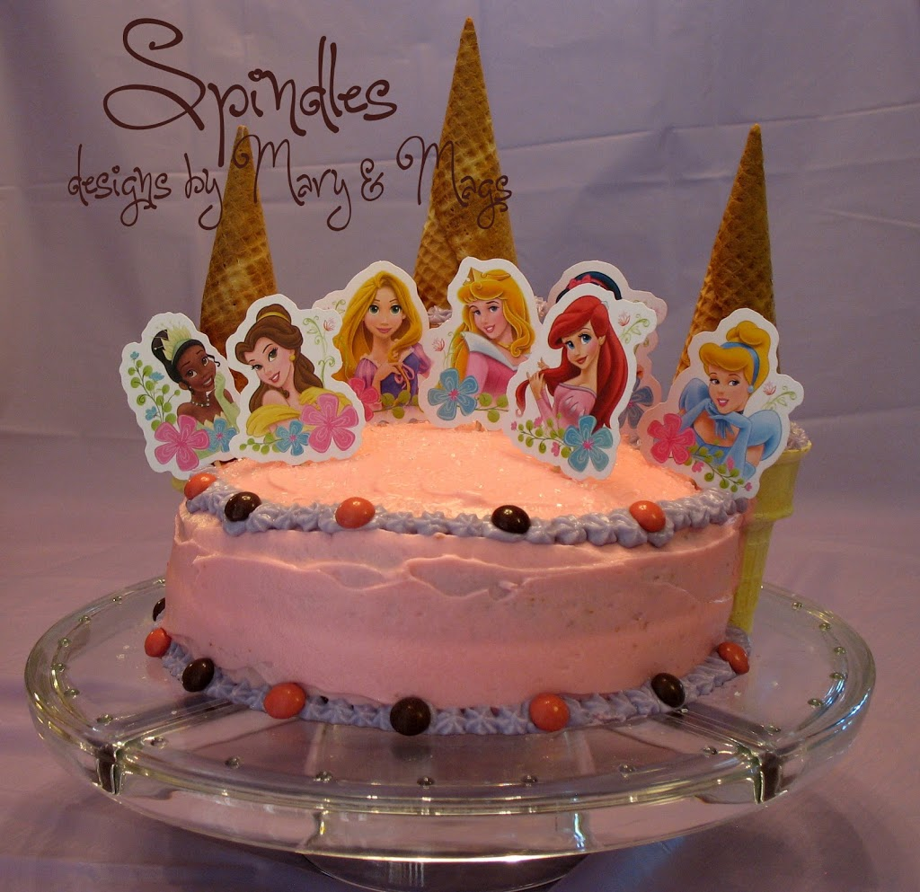 Princess birthday cake idea at www.spindlesdesigns.com #princessbirthday