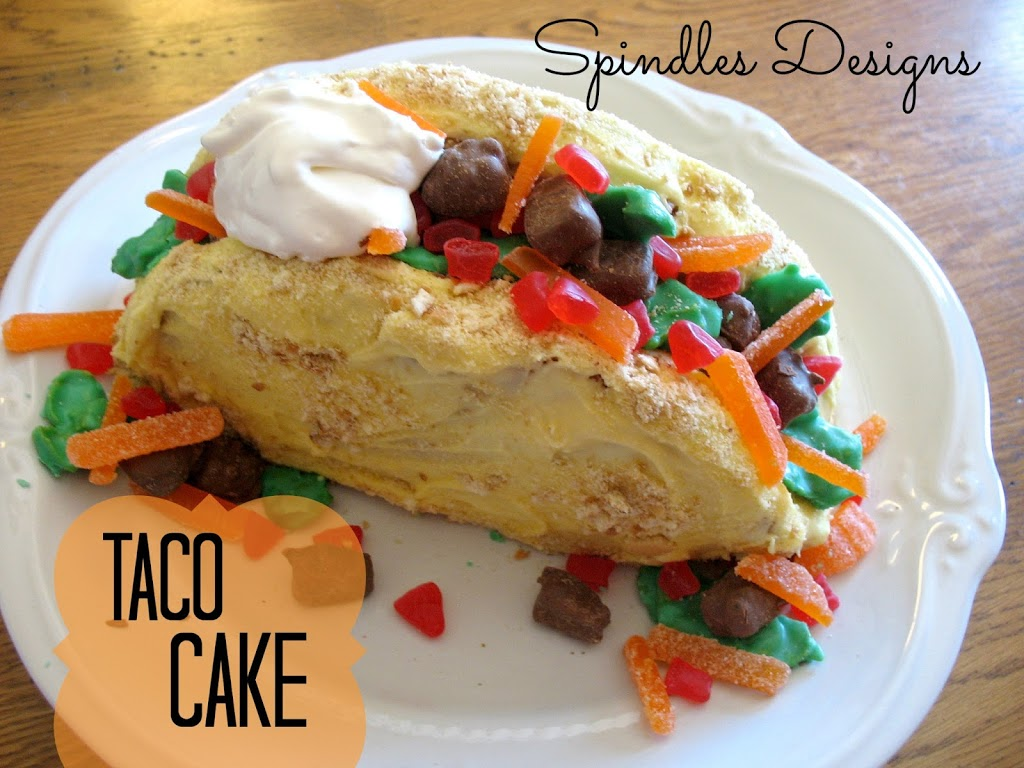 Taco Cake- easy to follow instruction. Make taco night complete. ~Spindles Designs #tacocake #taconight