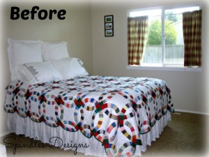 Beautiful Double Wedding Ring Quilt, but master bedroom needs a makeover. www.spindlesdesigns.com #masterbedroommakeover #paintmasterbedroom
