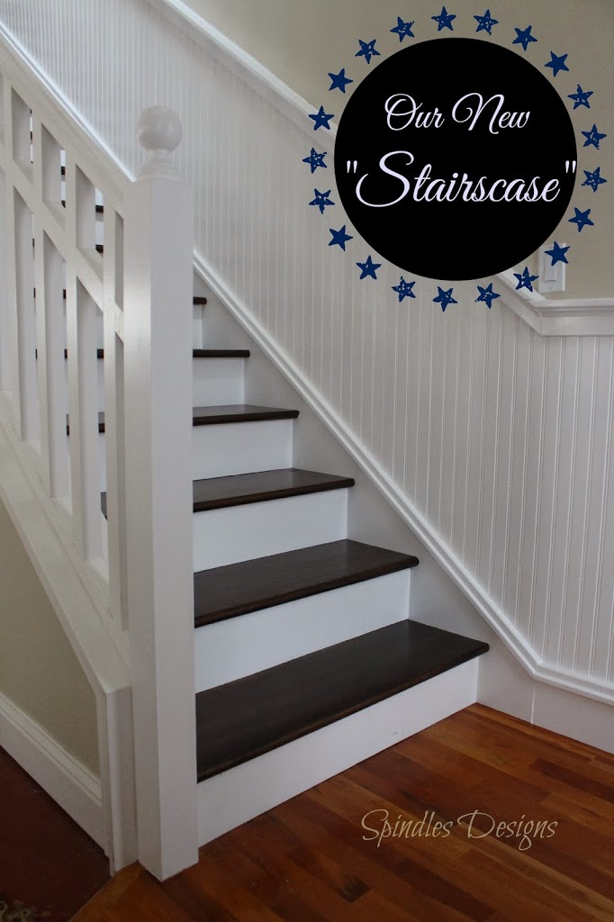Make your staircase beautiful at www.spindlesdesigns.com #staircasemakeover