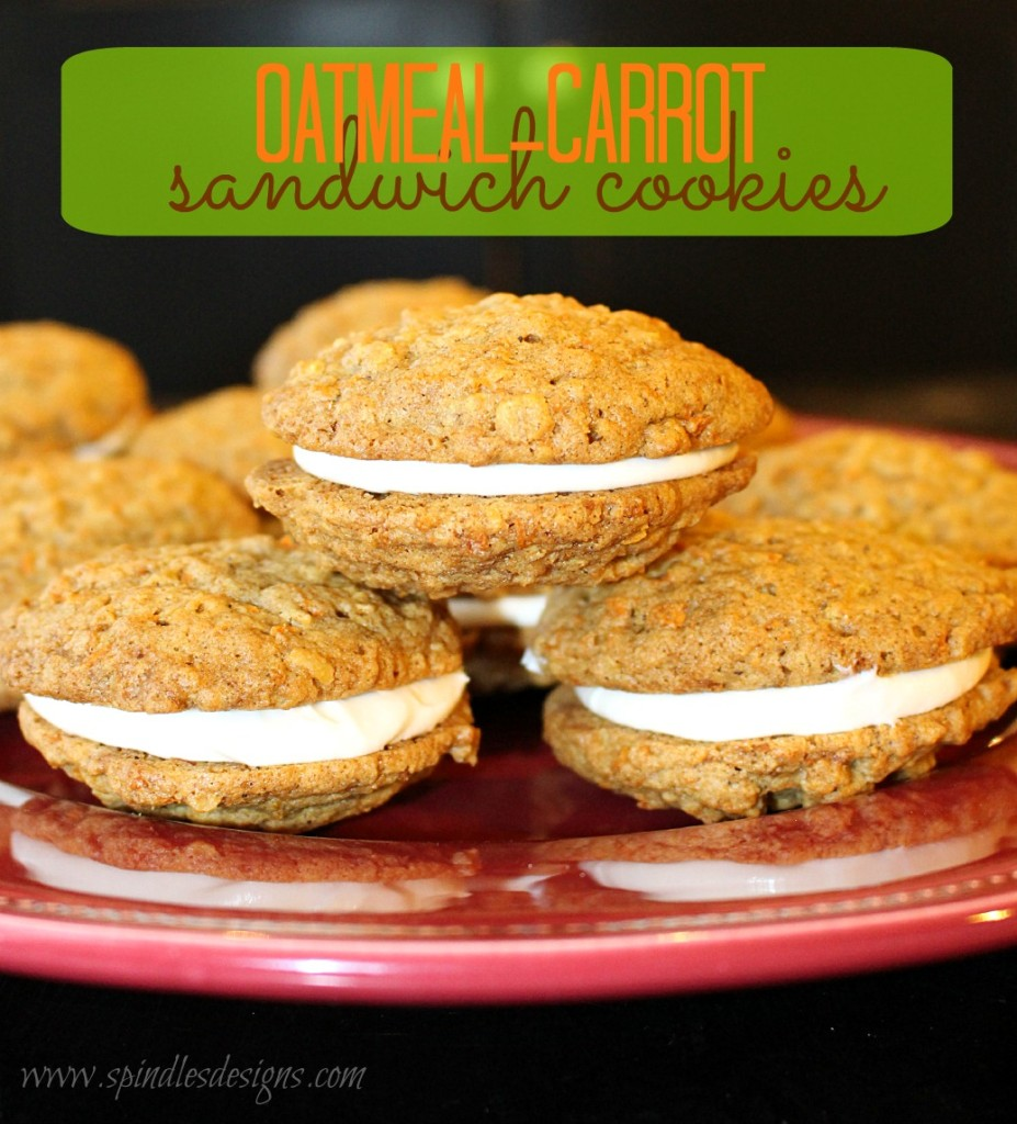 Oatmeal Carrot Sandwich Cookies at www.SpindlesDesigns.com